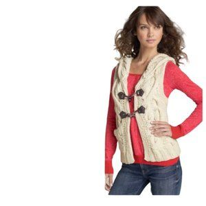 Free people cable knit toggle hooded vest